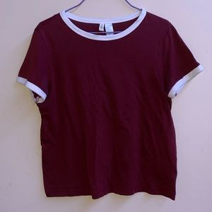 maroon tee with white collars